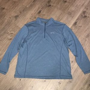 Orvis, Heathered Blue, 1/4 zip Cotton/polyester